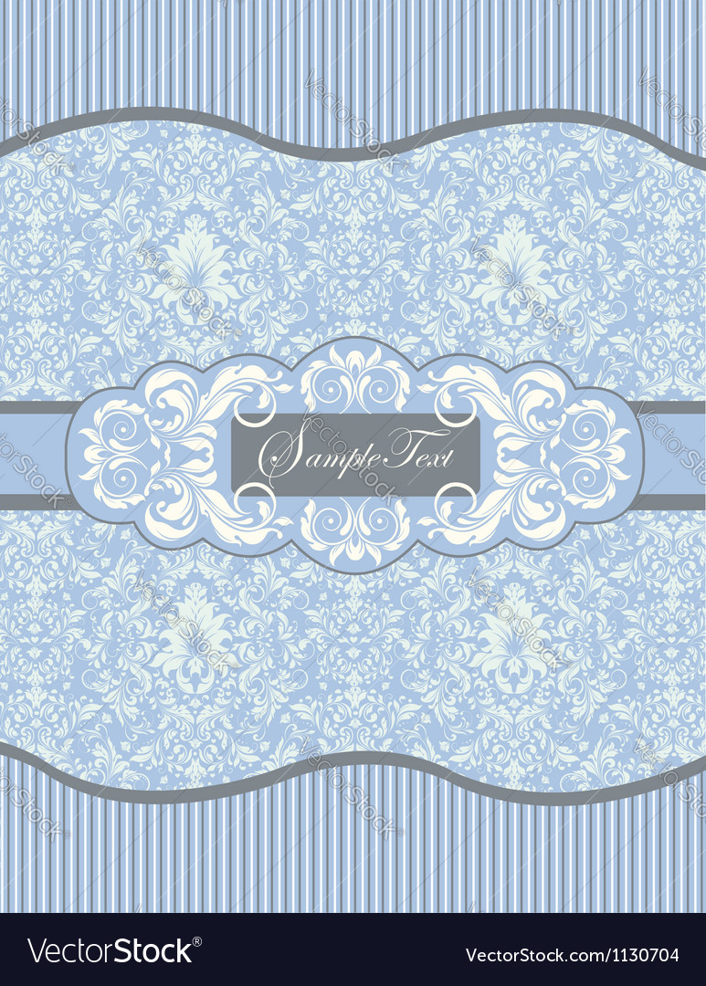Blue floral damask invitation card vector | Price: 1 Credit (USD $1)