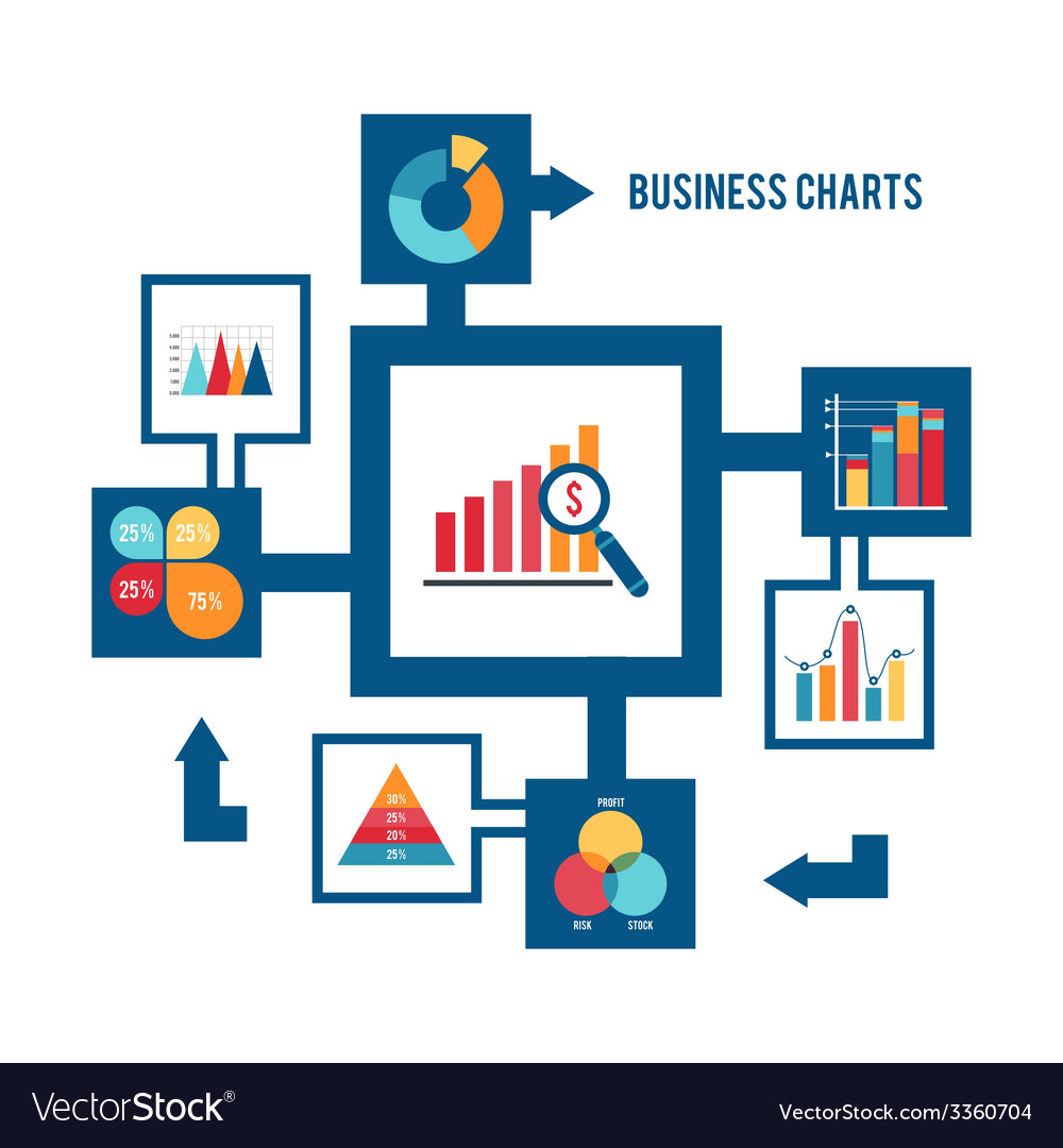 Business chart icons set vector | Price: 1 Credit (USD $1)