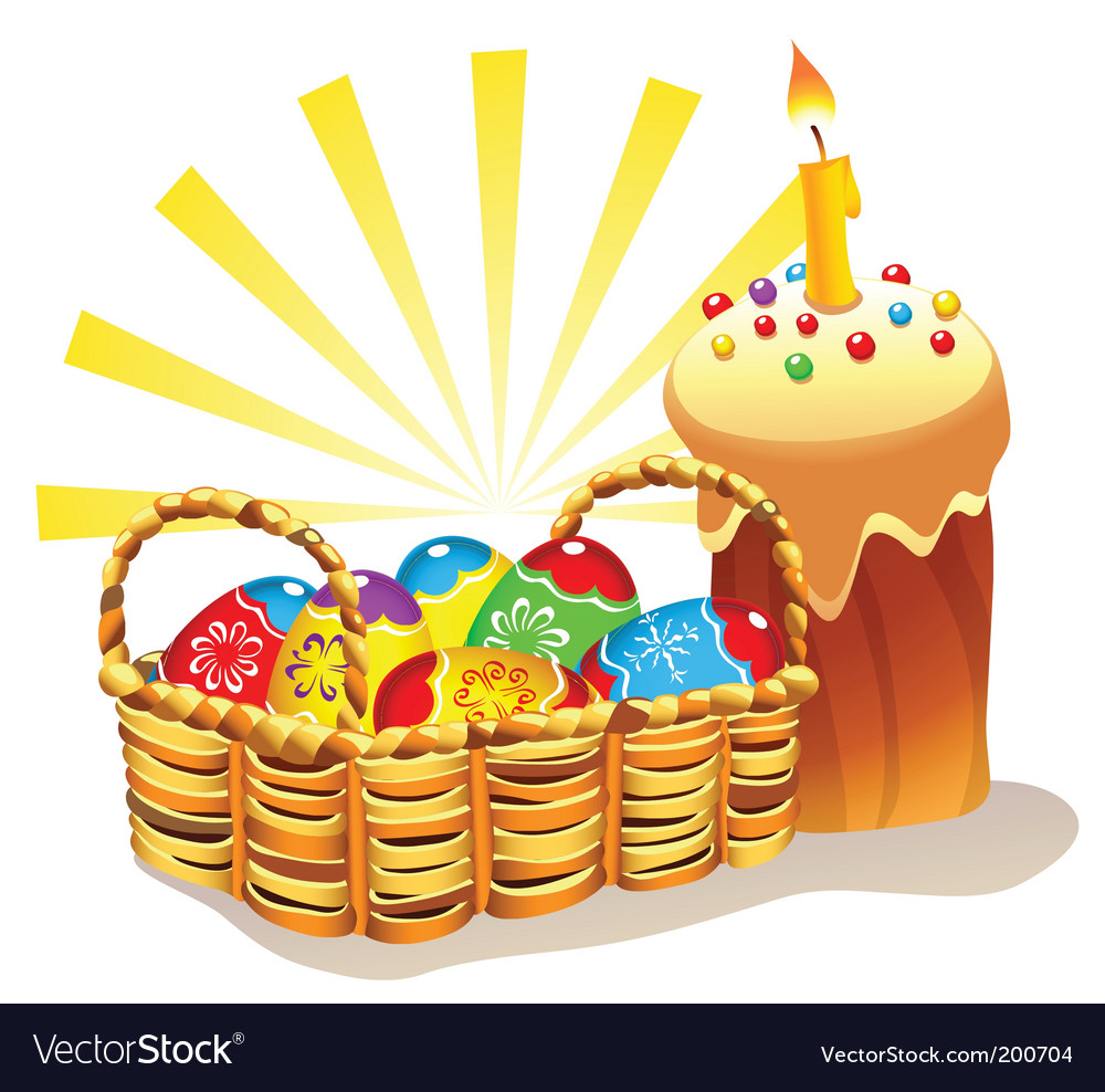 Easter cake and basket vector | Price: 3 Credit (USD $3)