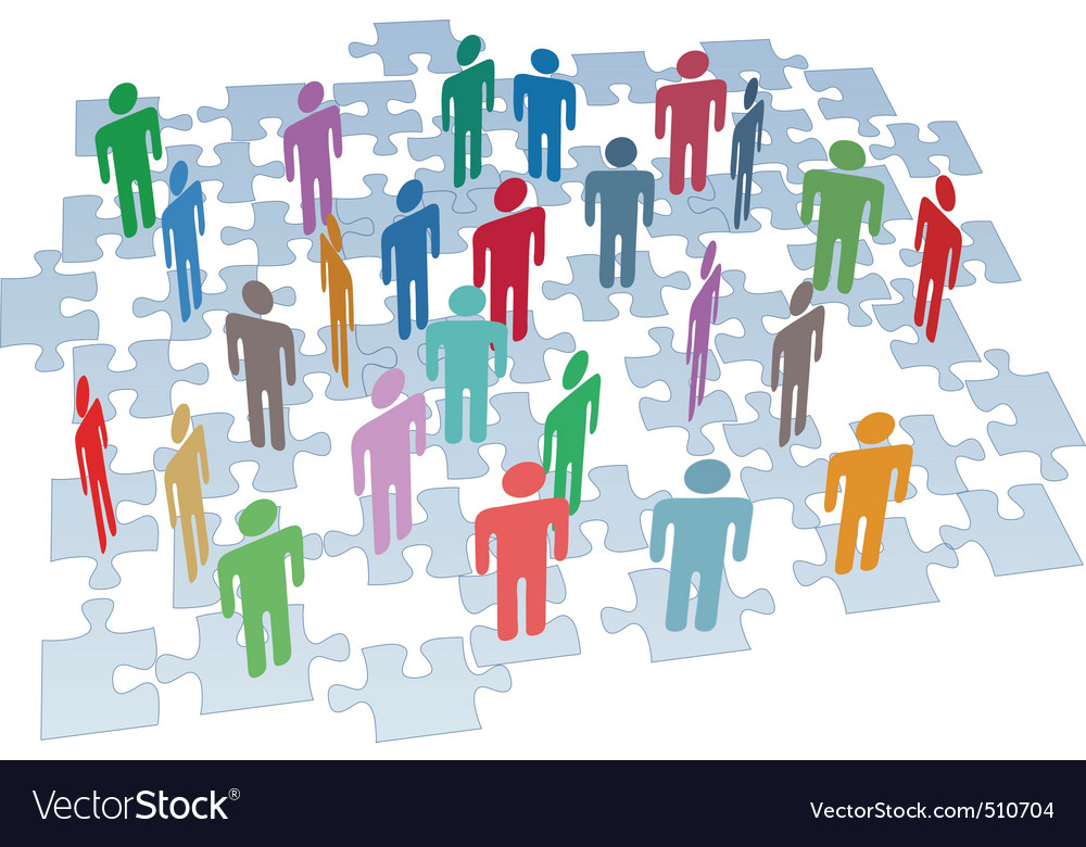 Human resources group connection puzzle pieces net vector | Price: 1 Credit (USD $1)