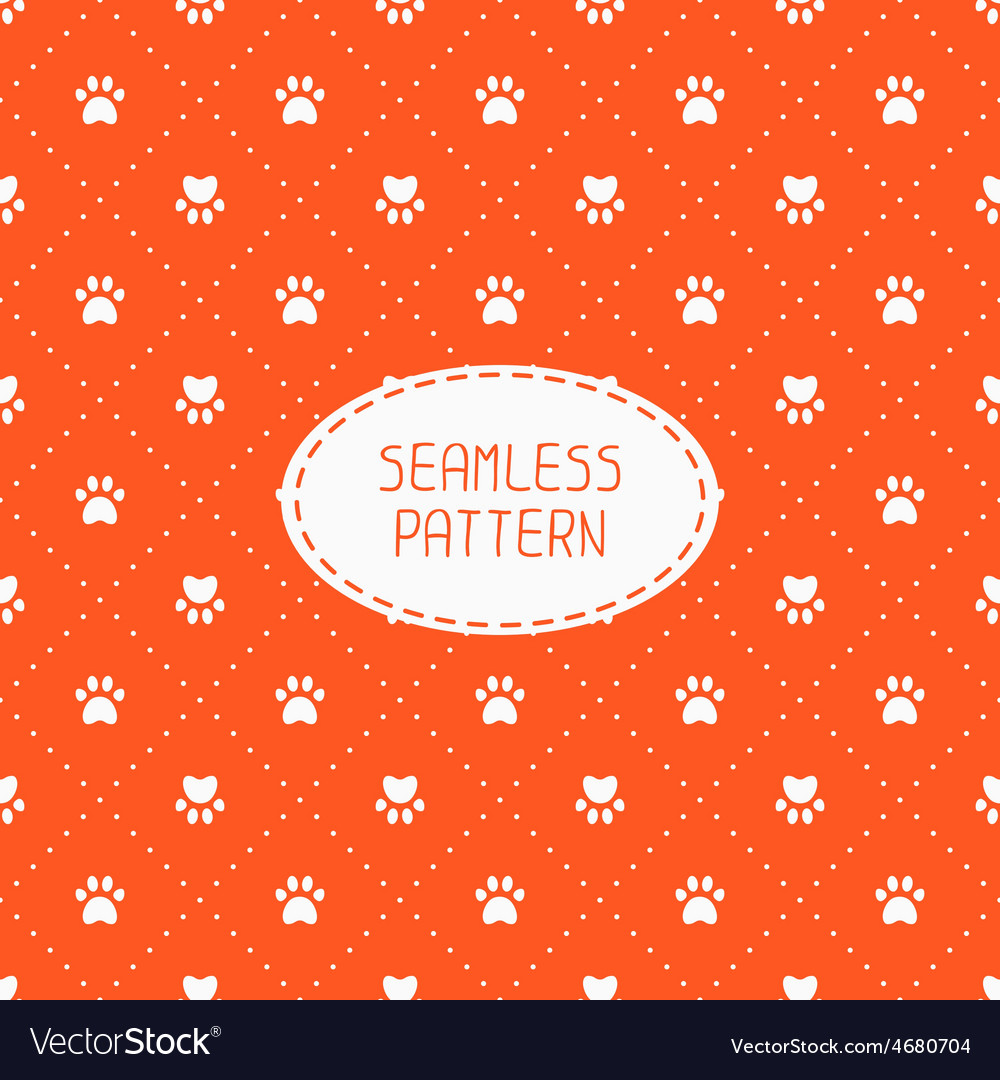 Seamless pattern with animal footprints cat dog vector   Price: 1 Credit (USD $1)