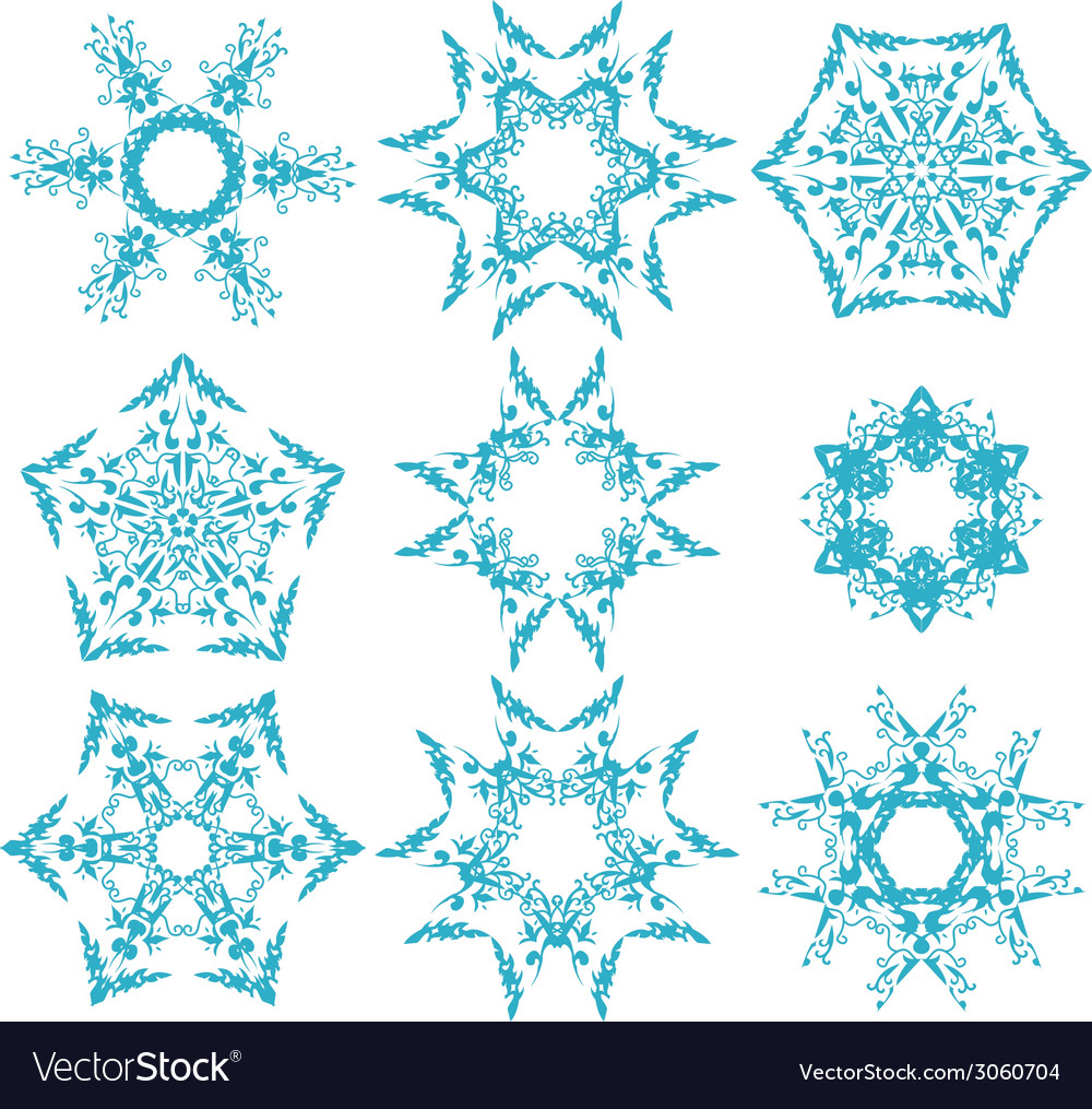 Set of snowflakes3 vector | Price: 1 Credit (USD $1)