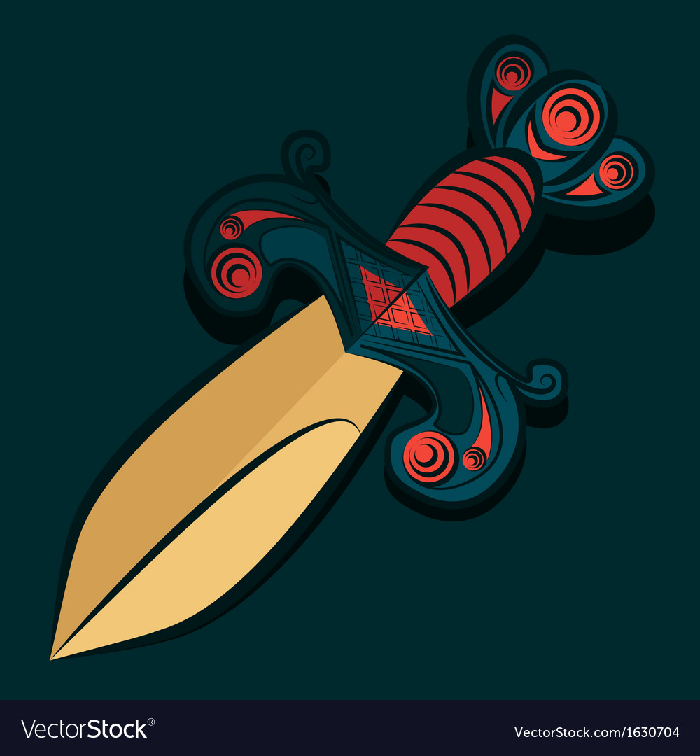Sharp dagger with barbed wire vector | Price: 1 Credit (USD $1)