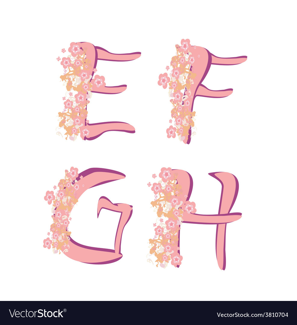 Spring alphabet with flowers letters efgh vector | Price: 1 Credit (USD $1)