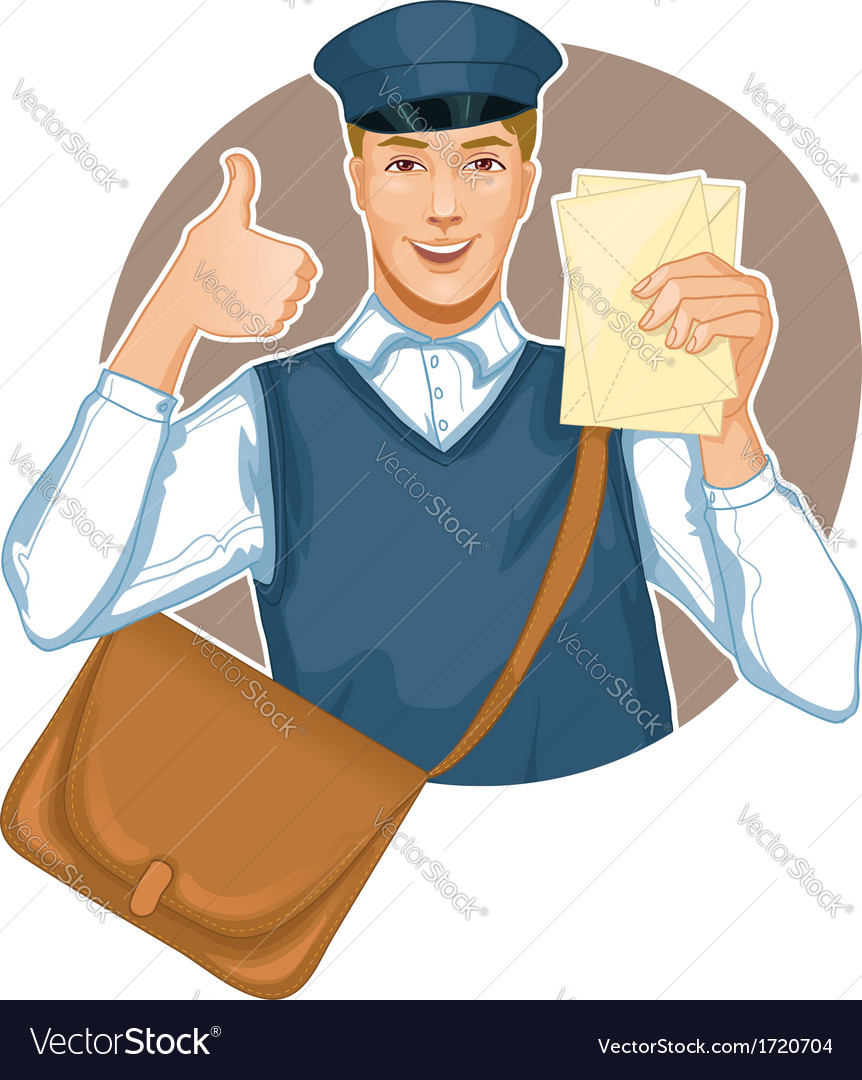 Young postman in a postman uniform with a letter a vector | Price: 3 Credit (USD $3)