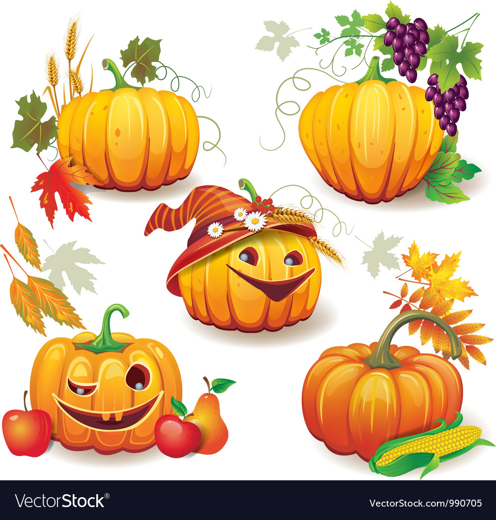 Autumn still life with pumpkins vector | Price: 3 Credit (USD $3)