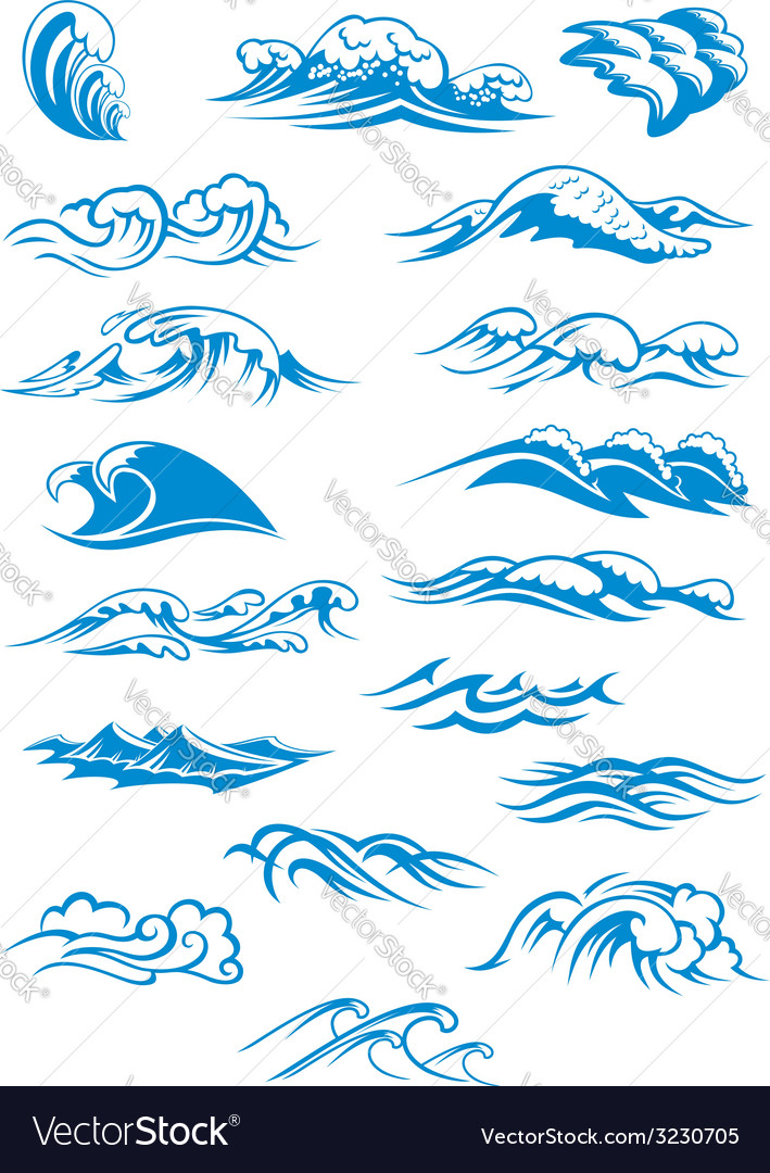 Blue breaking ocean waves vector | Price: 1 Credit (USD $1)