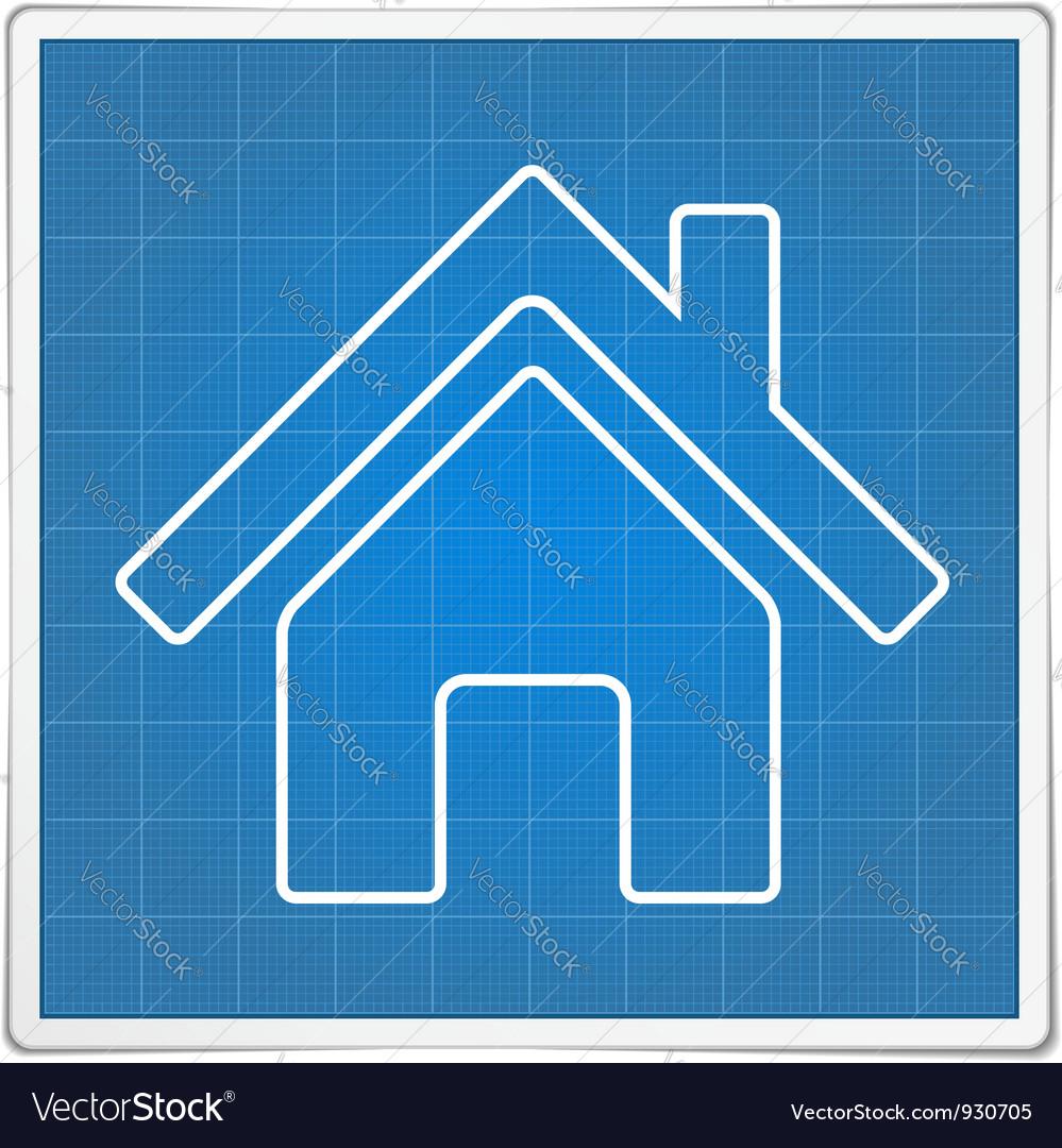 Blueprint house icon vector | Price: 1 Credit (USD $1)