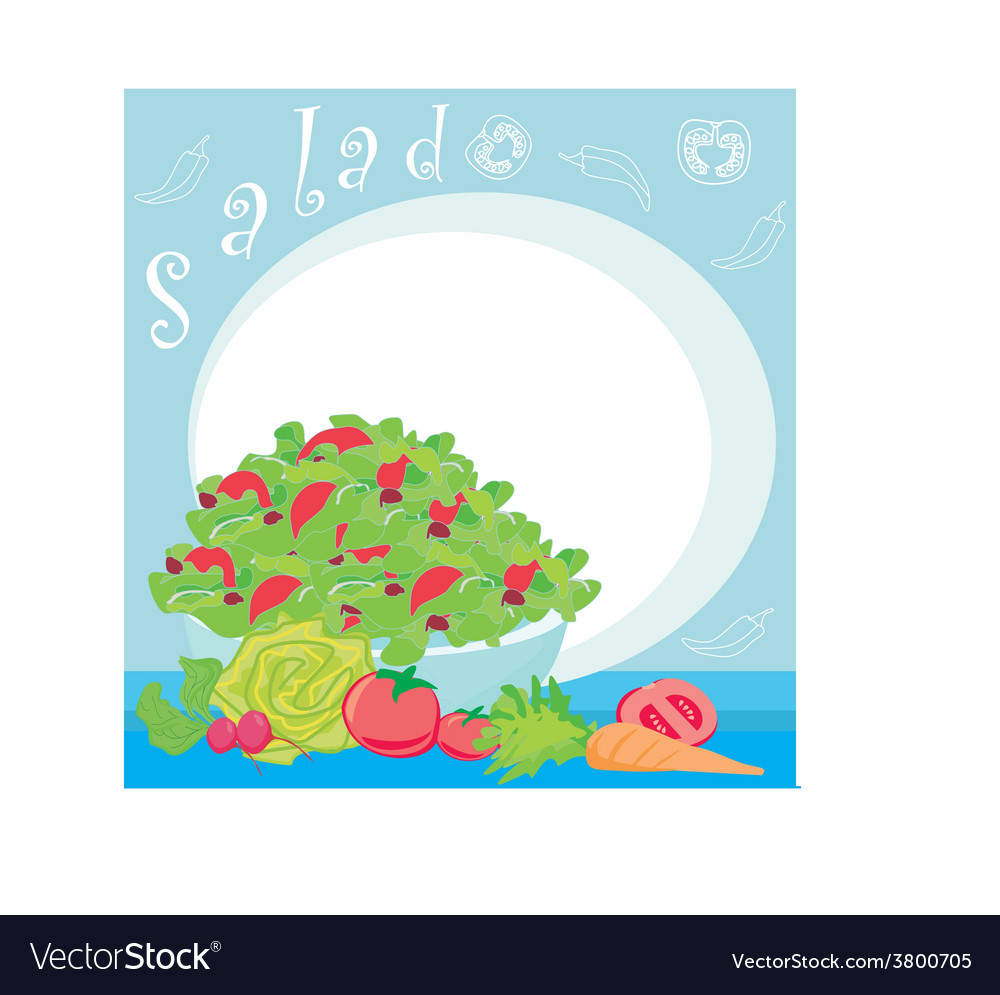 Bowl full of fresh vegetable salad vector | Price: 1 Credit (USD $1)