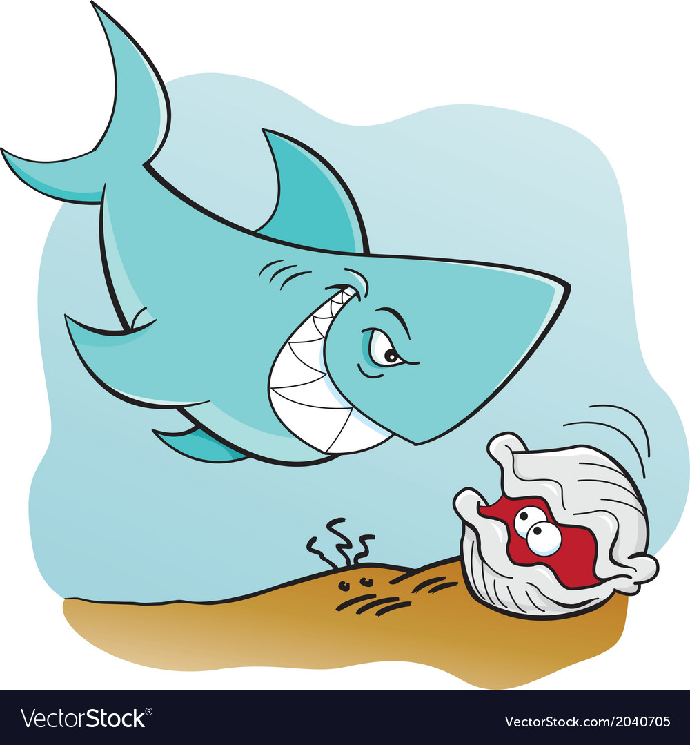 Cartoon shark and clam underwater vector | Price: 1 Credit (USD $1)