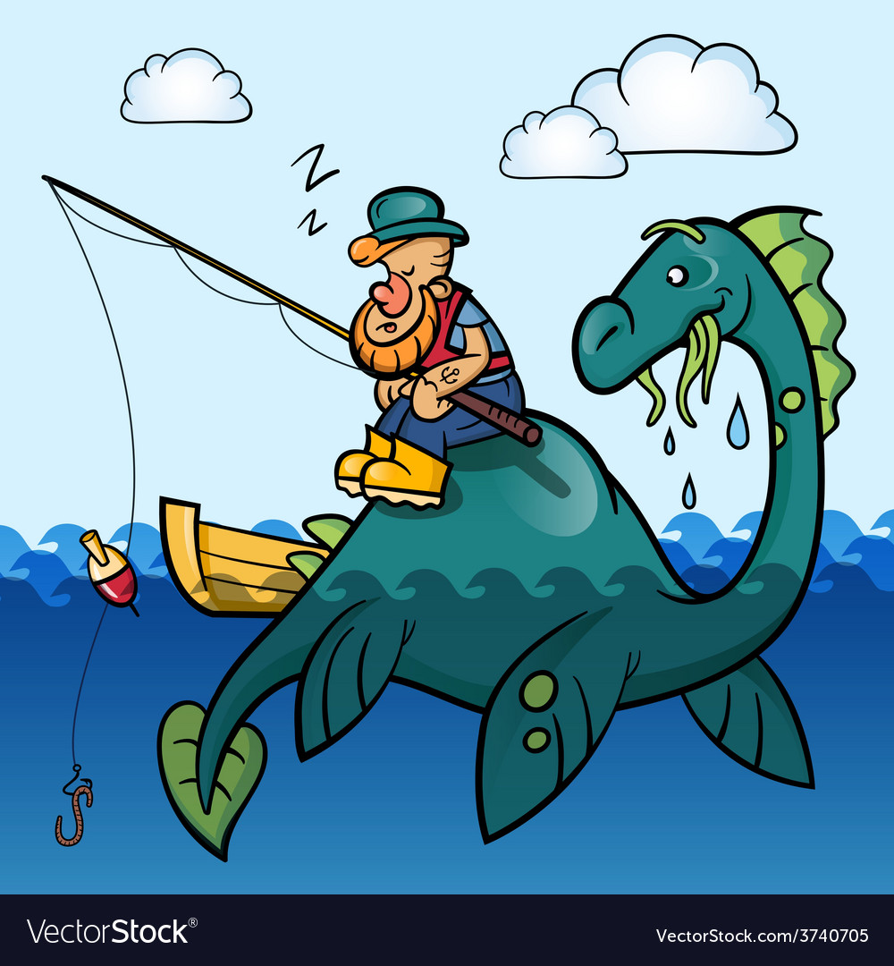Fisherman and dinosaur vector