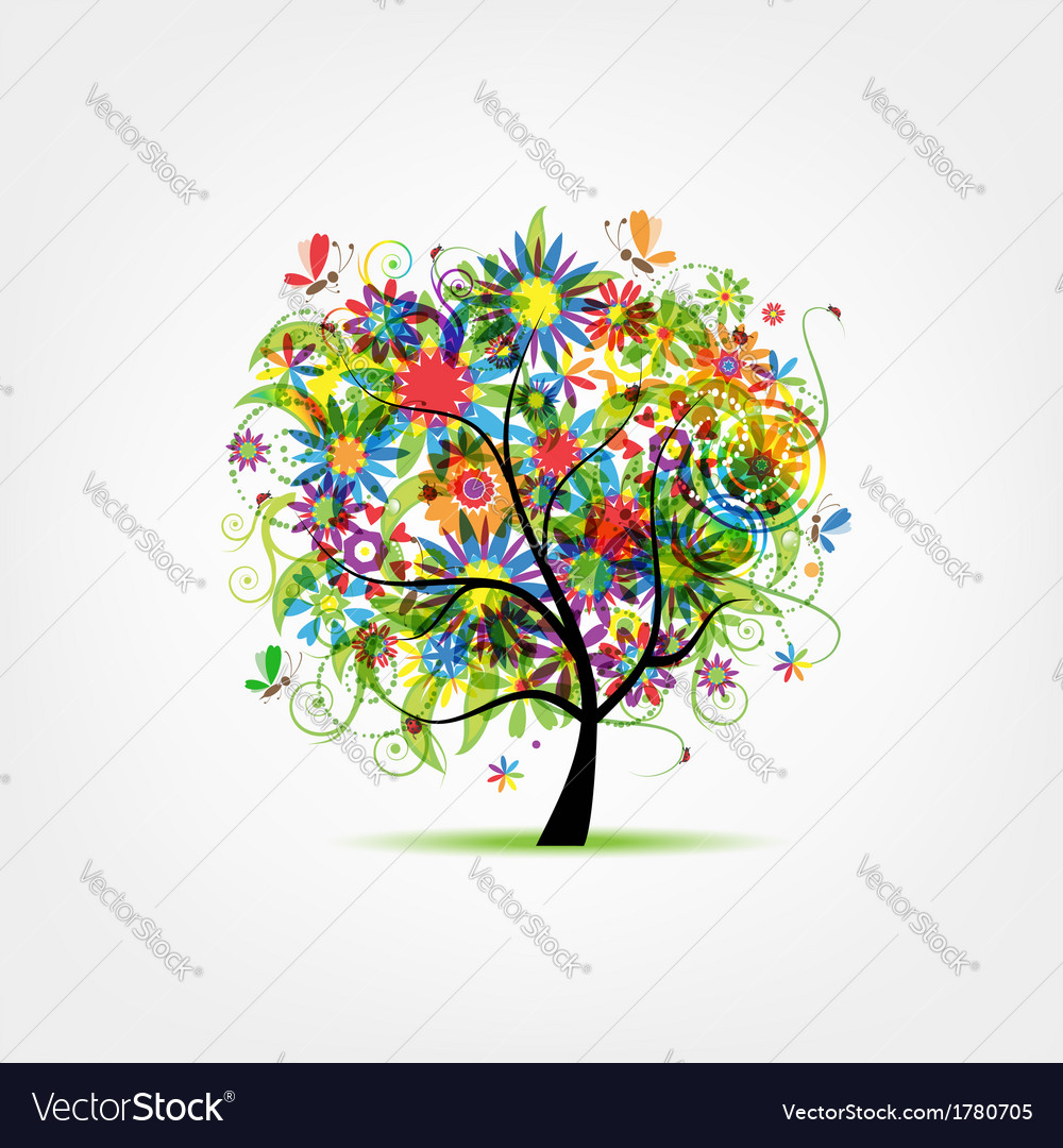 Floral tree summer for your design vector | Price: 1 Credit (USD $1)