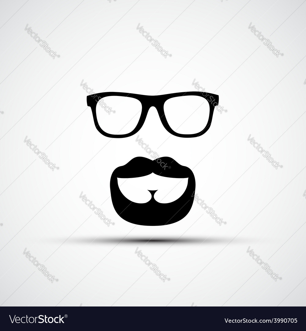 Glasses and a mustache with a beard isola vector | Price: 1 Credit (USD $1)