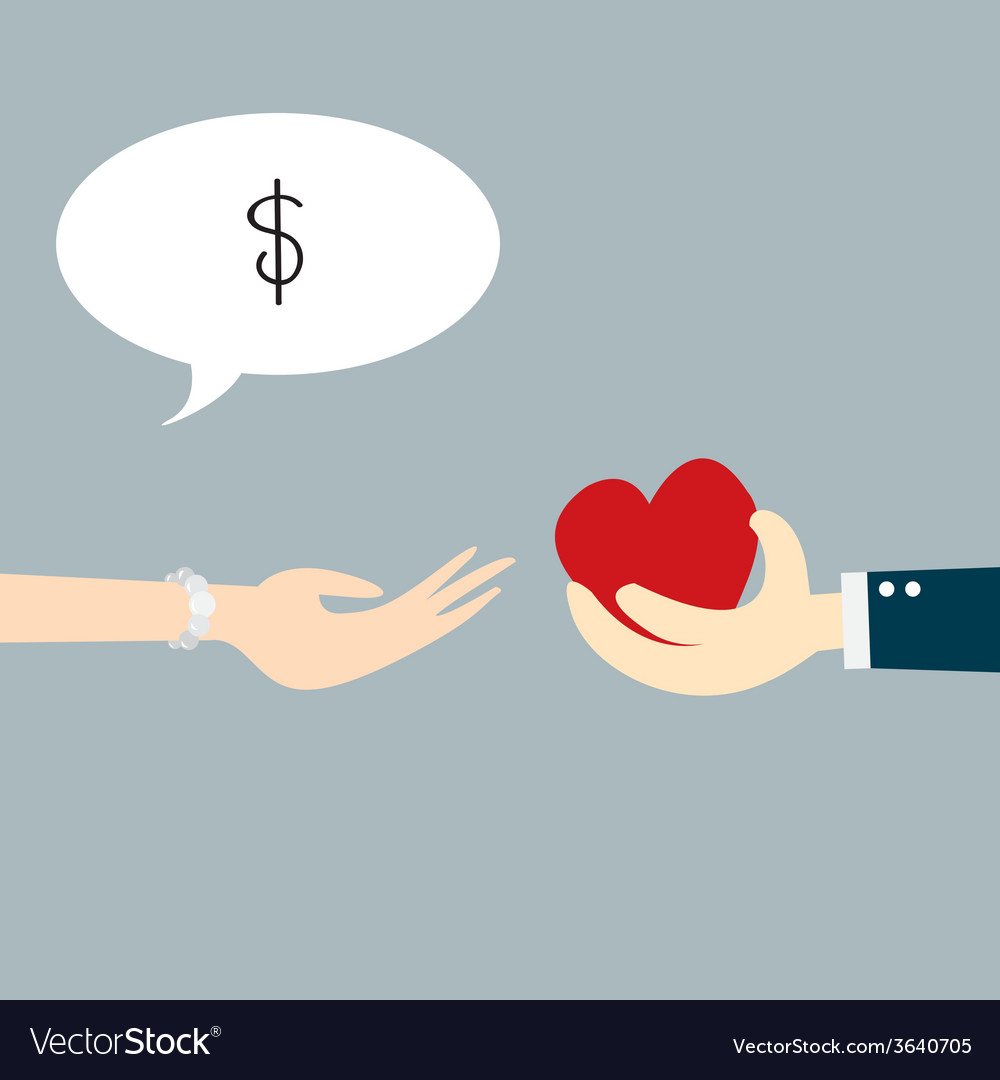 Hand holding heart with concept business vector