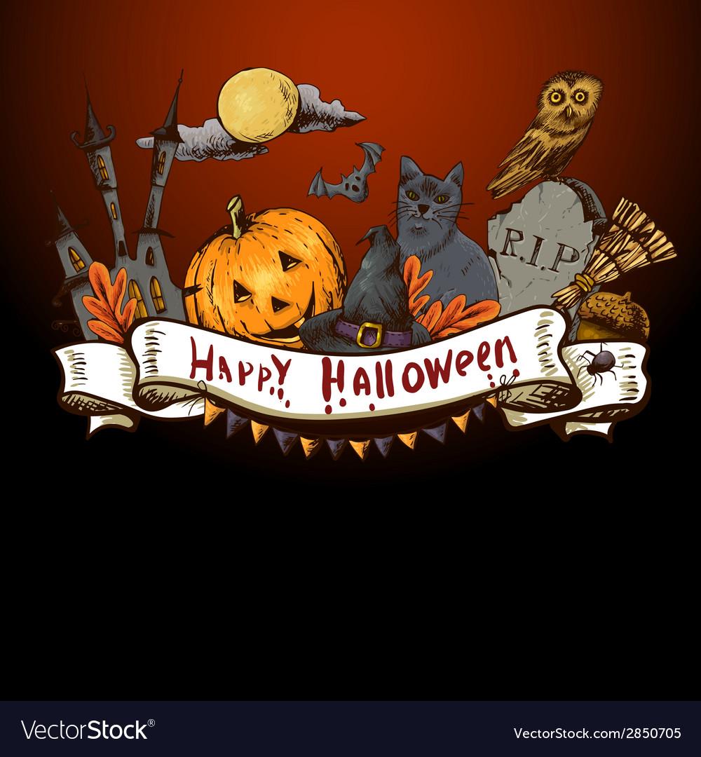 Hand-drawn halloween invitation card vector | Price: 1 Credit (USD $1)