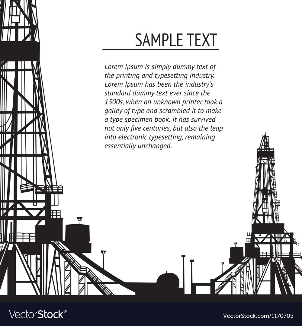 Oil rig banner for your text vector | Price: 1 Credit (USD $1)