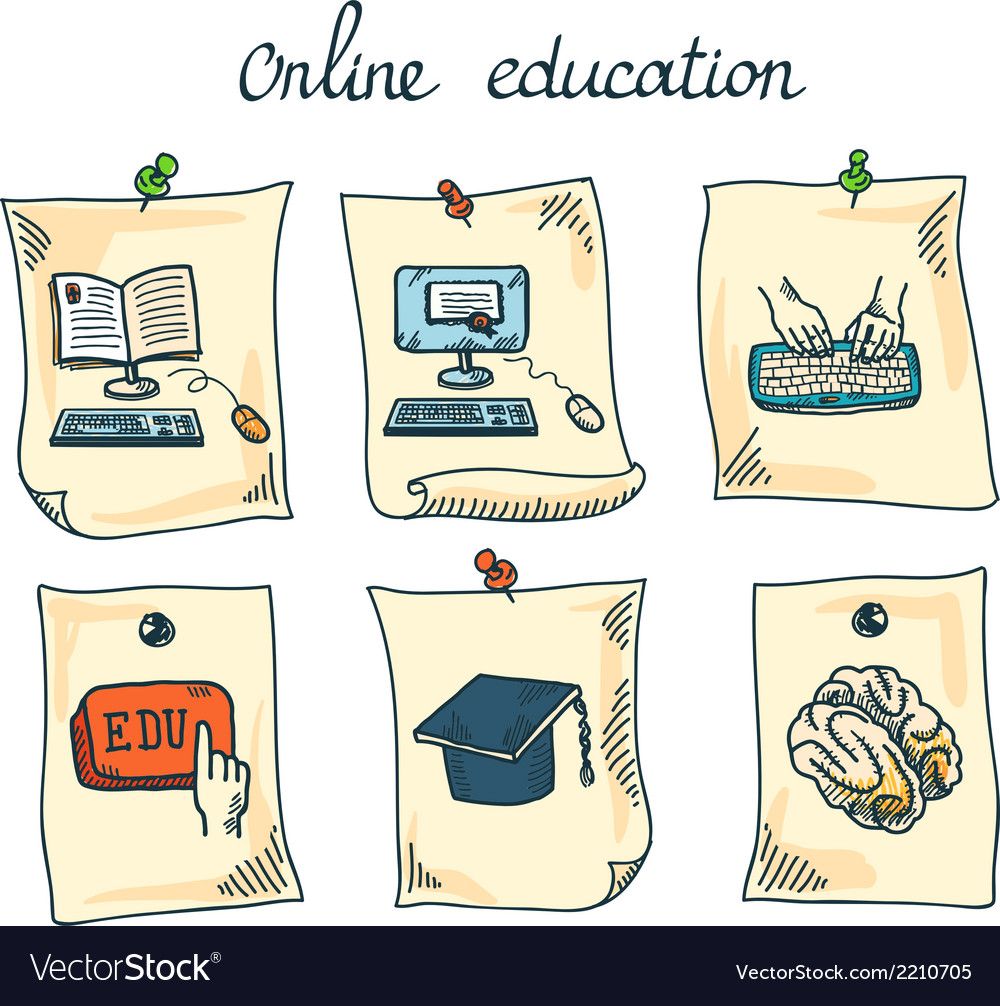 Online education sticker set vector | Price: 1 Credit (USD $1)