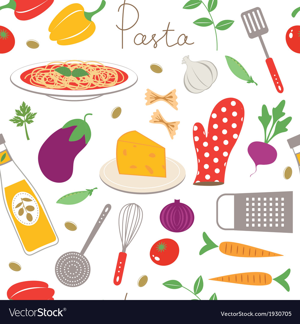 Pasta cooking seamless pattern vector | Price: 1 Credit (USD $1)