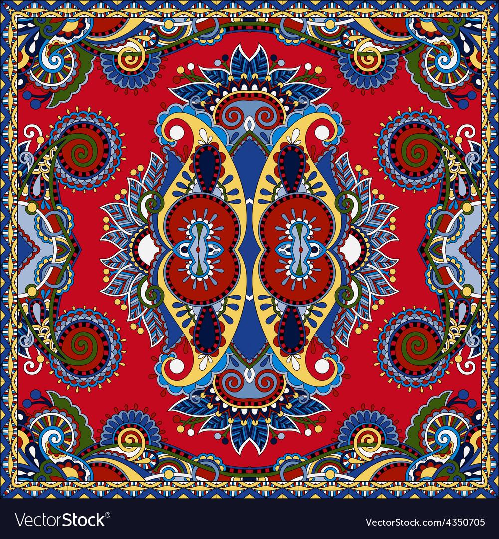 Red ornamental floral paisley bandanna vector | Price: 1 Credit (USD $1)