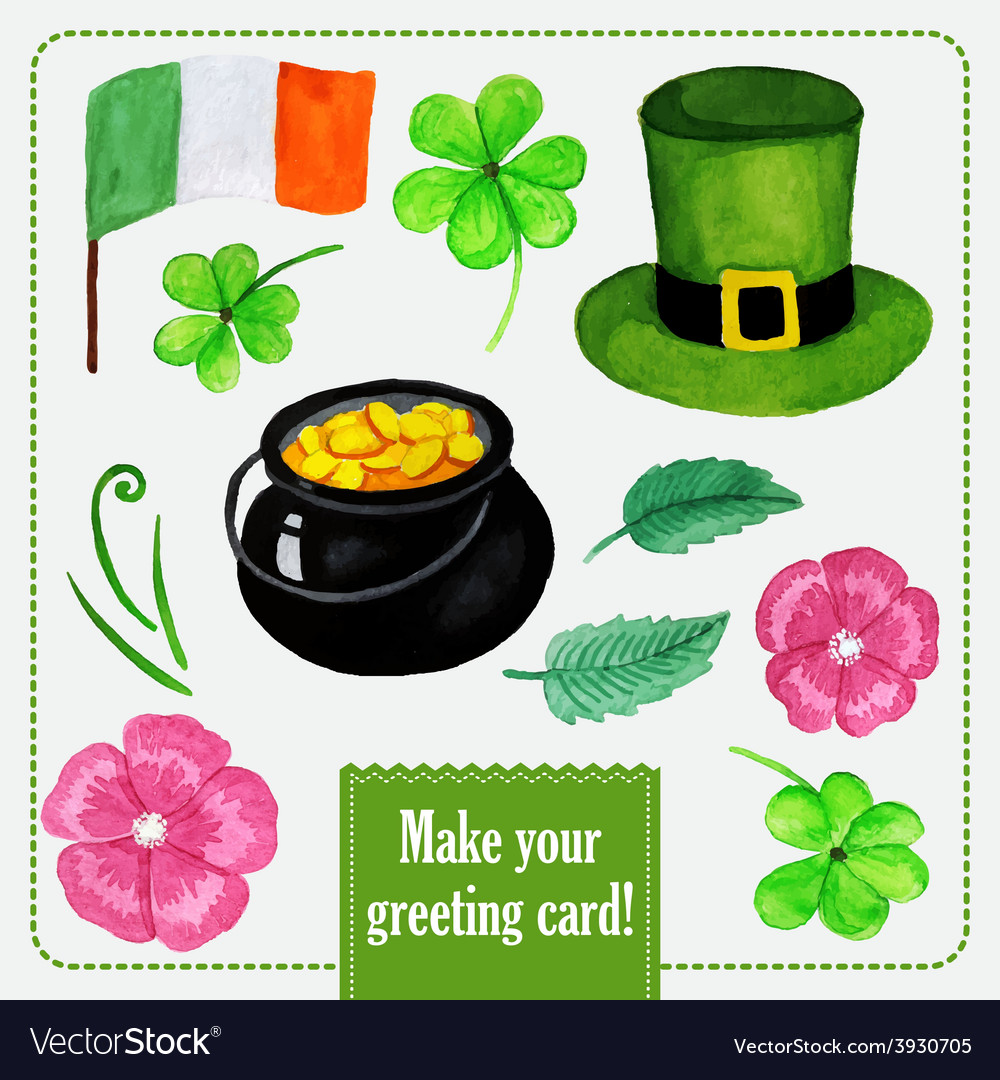 Stpatrick day set for greeting card with hat vector