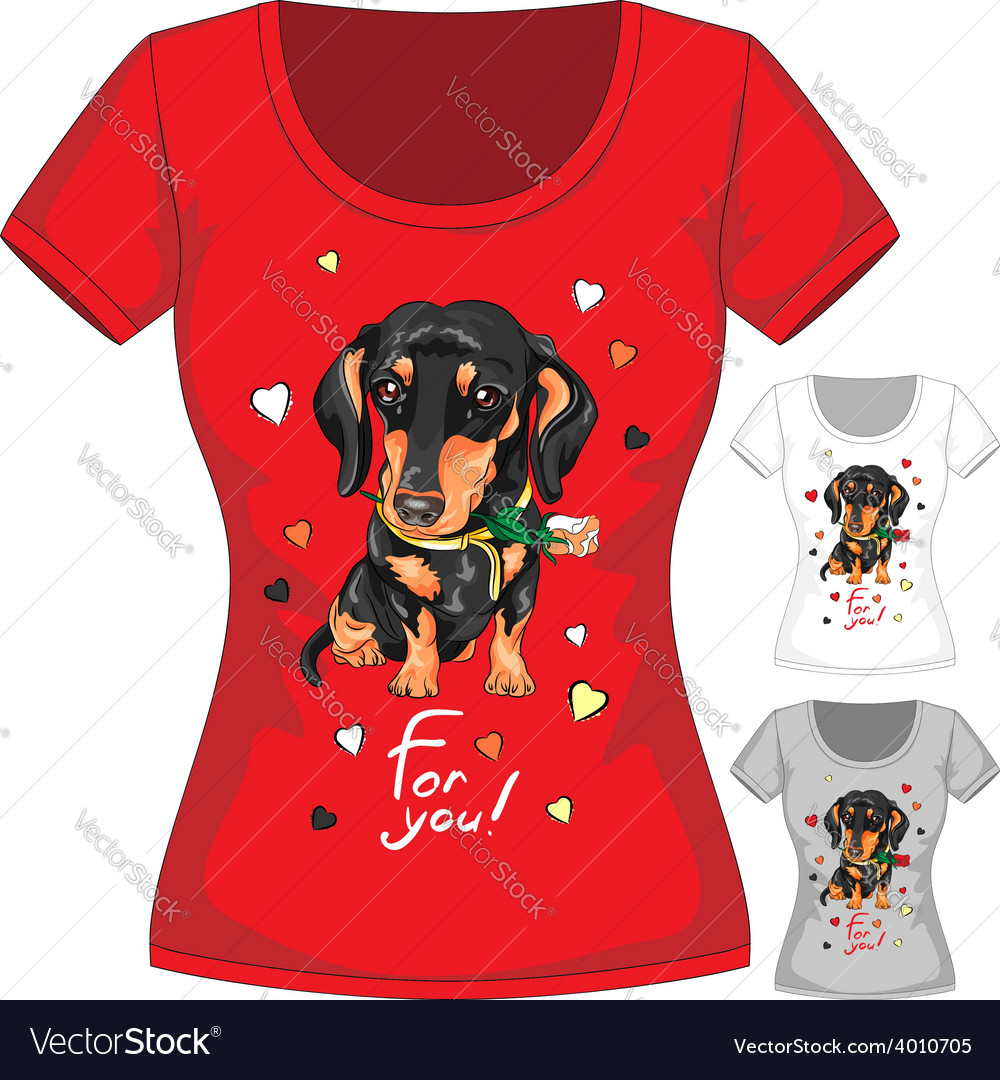 T-shirt with dachshund and flower vector | Price: 1 Credit (USD $1)
