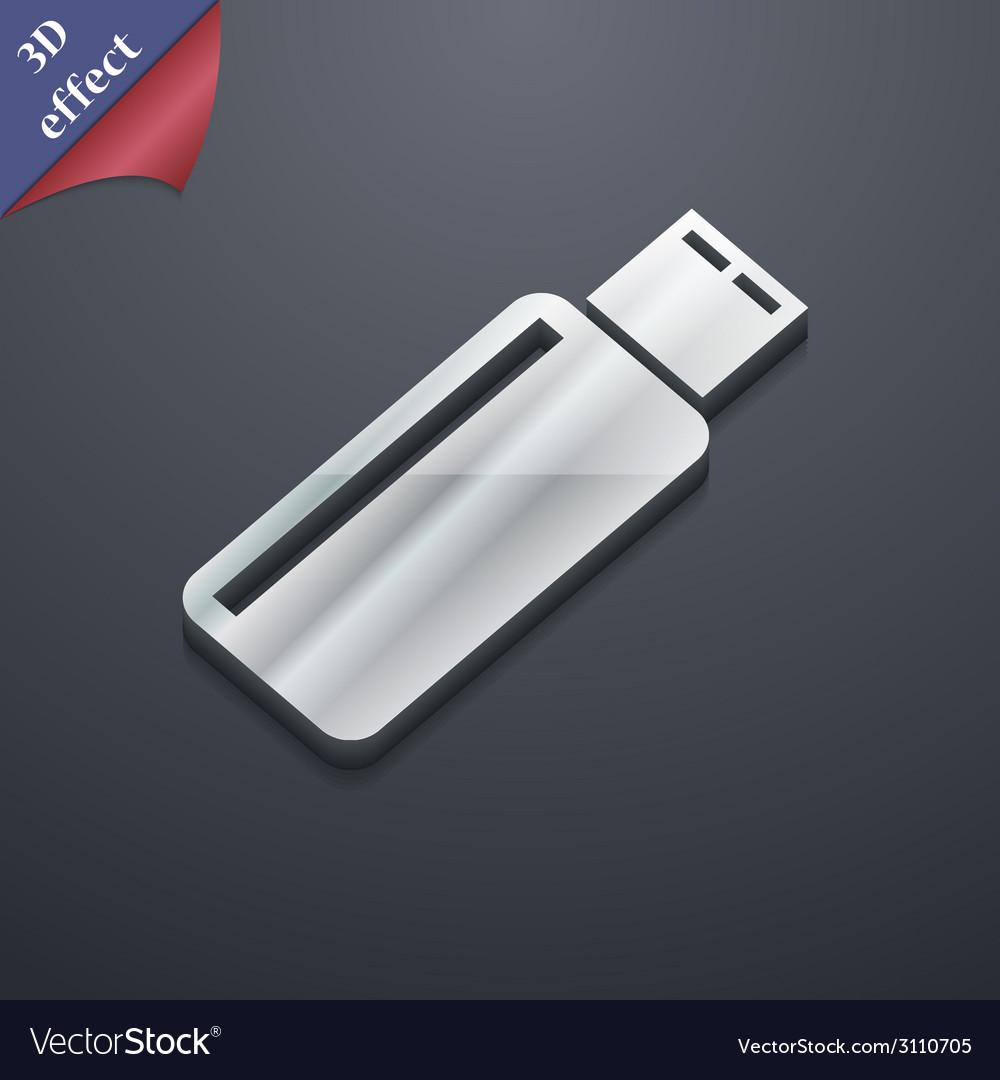 Usb flash drive icon symbol 3d style trendy modern vector | Price: 1 Credit (USD $1)