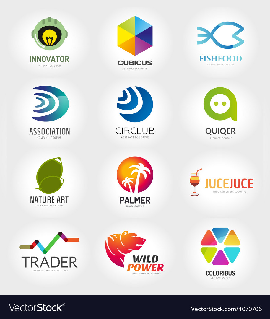 Abstract logo template set for branding and vector | Price: 1 Credit (USD $1)