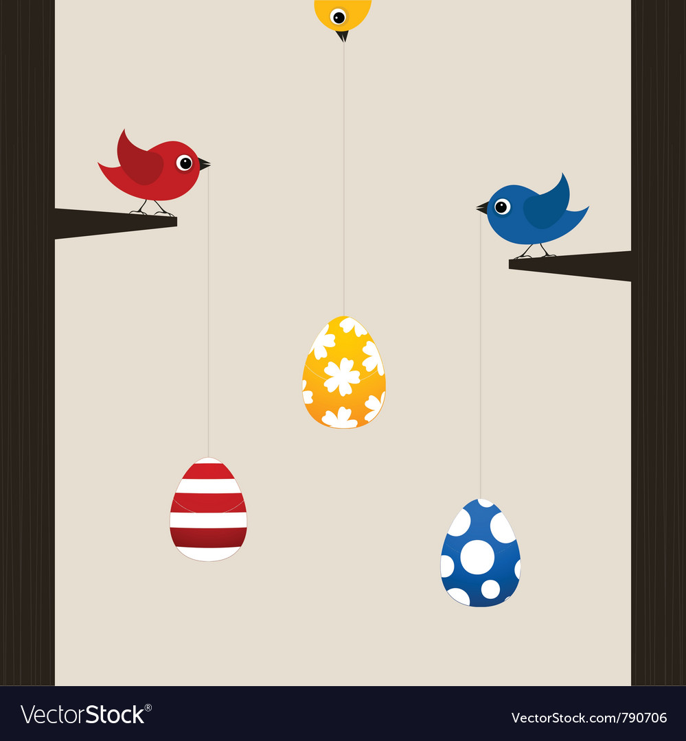 Birds hold easter eggs vector | Price: 1 Credit (USD $1)