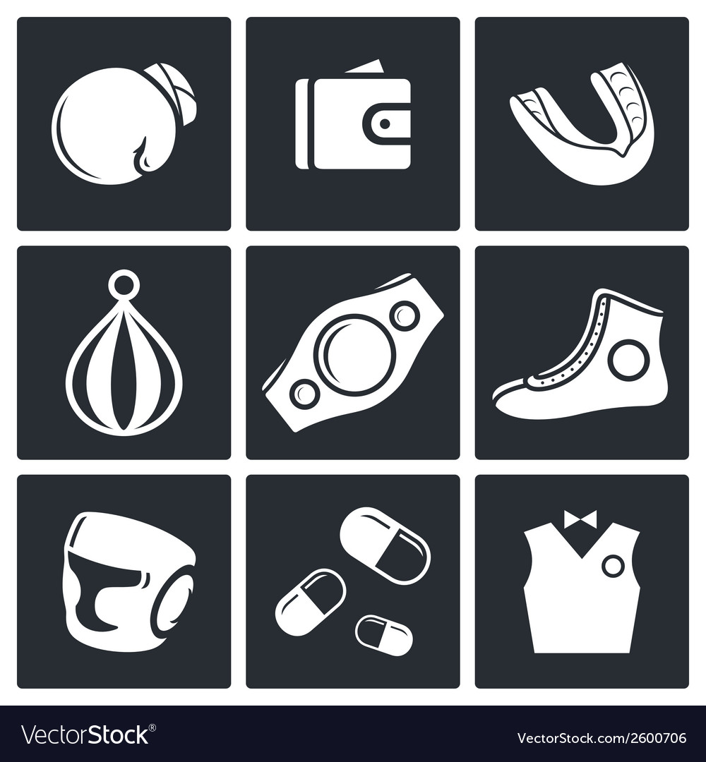 Boxing icon set vector | Price: 1 Credit (USD $1)