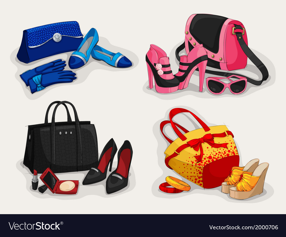 Collection of women bags shoes and accessories vector | Price: 1 Credit (USD $1)