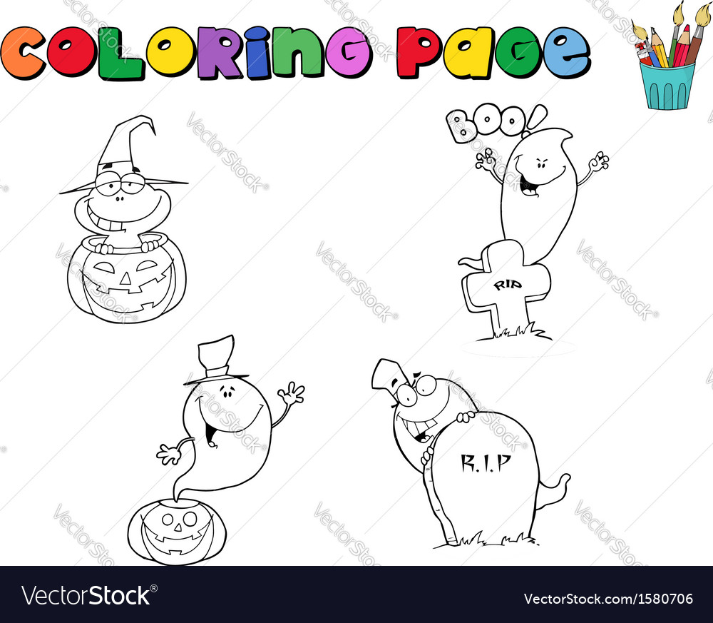 Halloween colouring cartoon vector | Price: 1 Credit (USD $1)