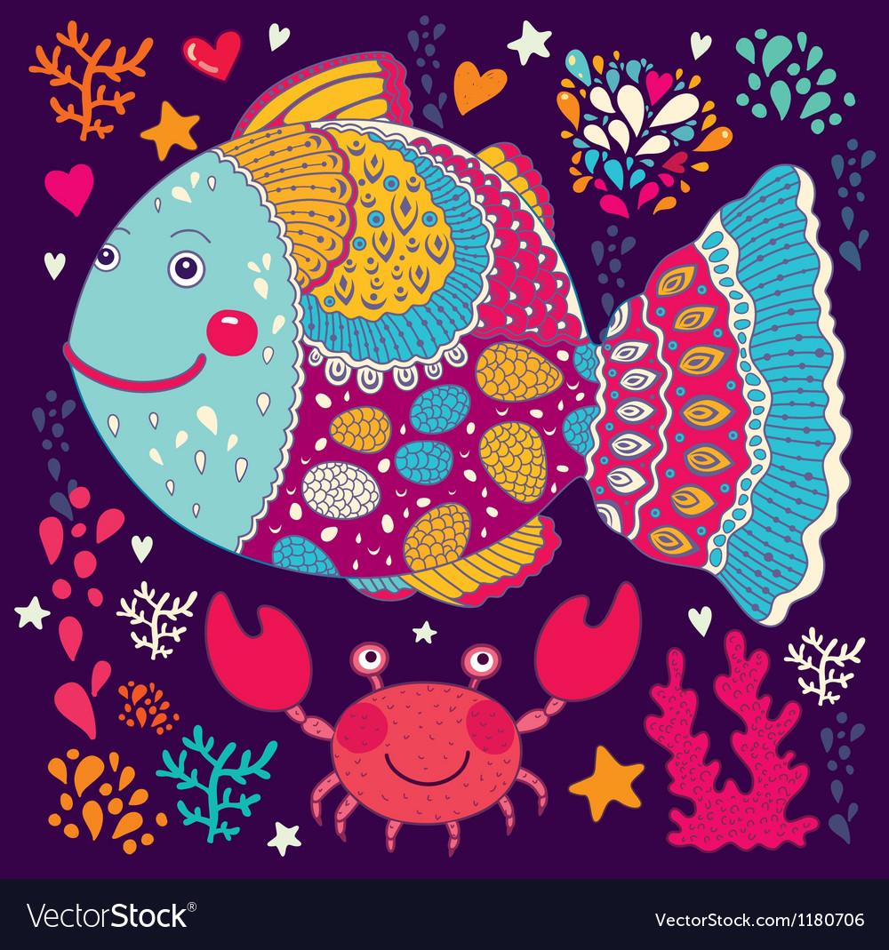 Happy fish vector | Price: 3 Credit (USD $3)
