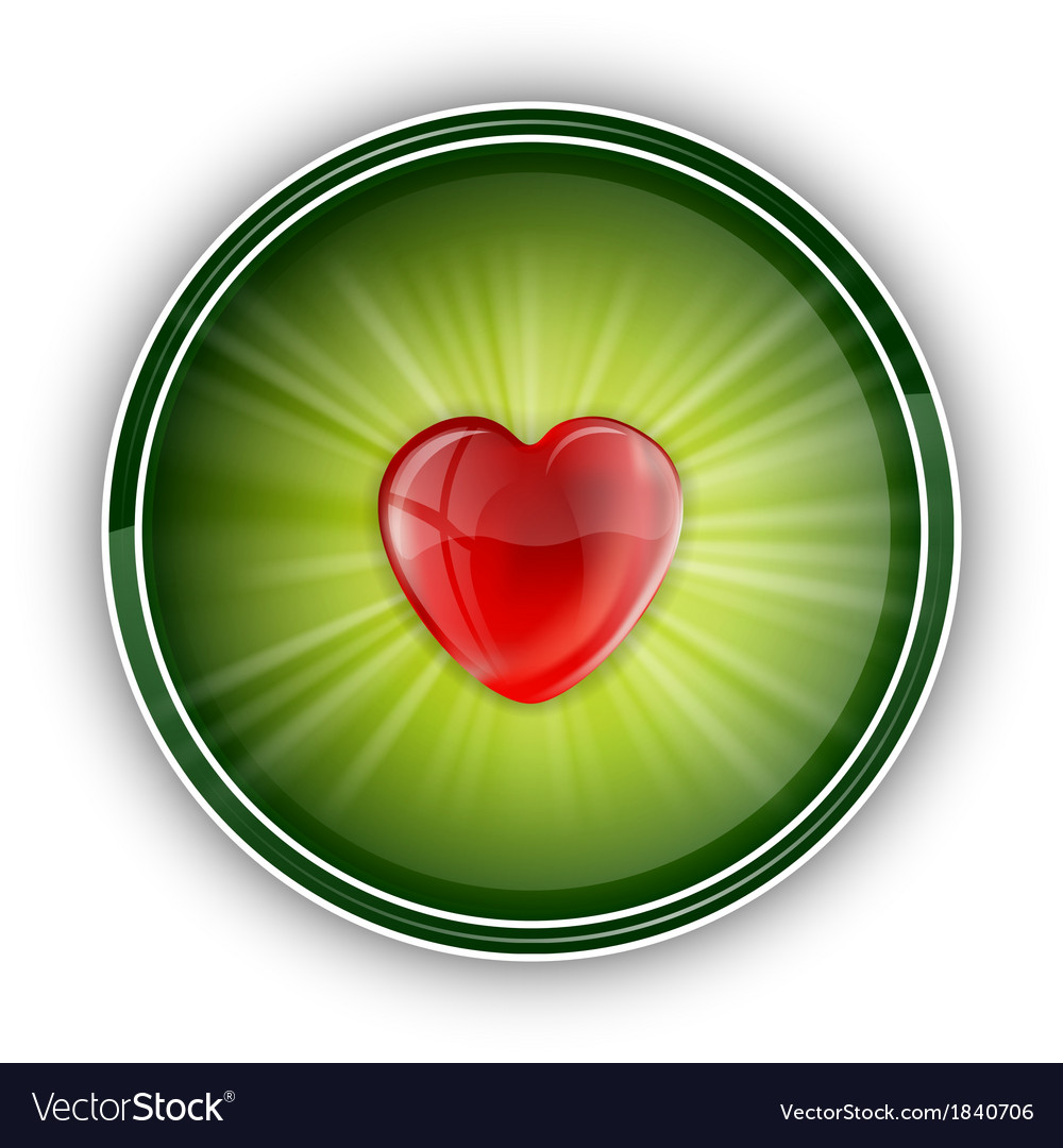 Heart symbol round green vector | Price: 1 Credit (USD $1)