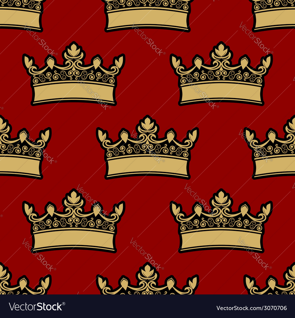 Heraldic crown seamless pattern vector | Price: 1 Credit (USD $1)