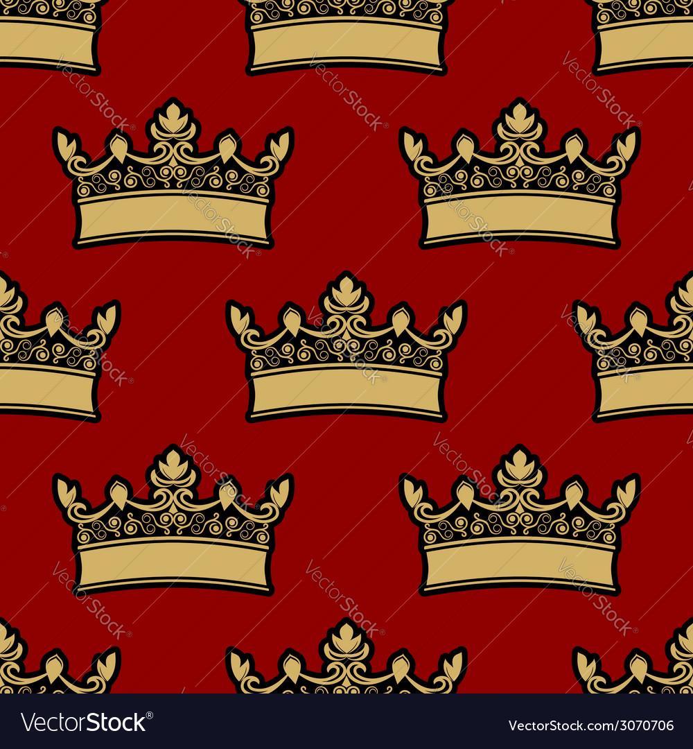 Heraldic crown seamless pattern vector | Price: 1 Credit (USD $1)
