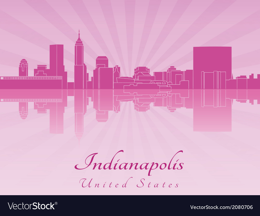 Indianapolis skyline in purple radiant orchid vector | Price: 1 Credit (USD $1)