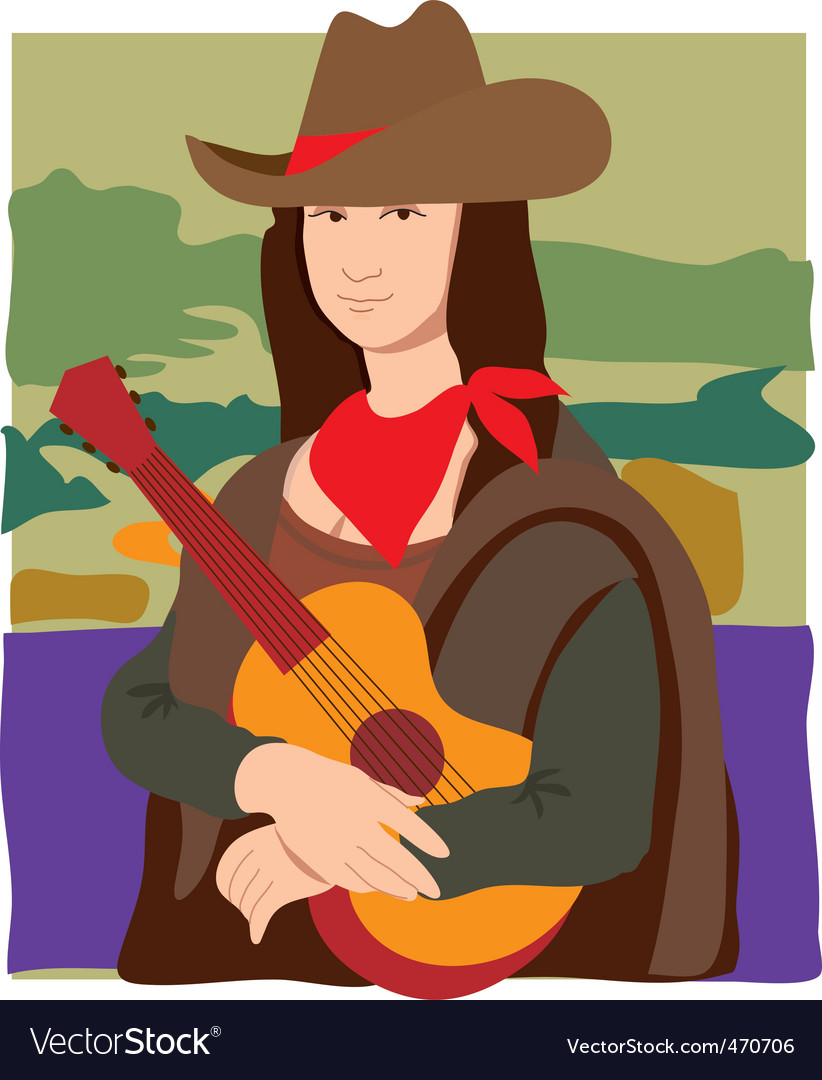 Mona lisa cowgirl vector | Price: 1 Credit (USD $1)