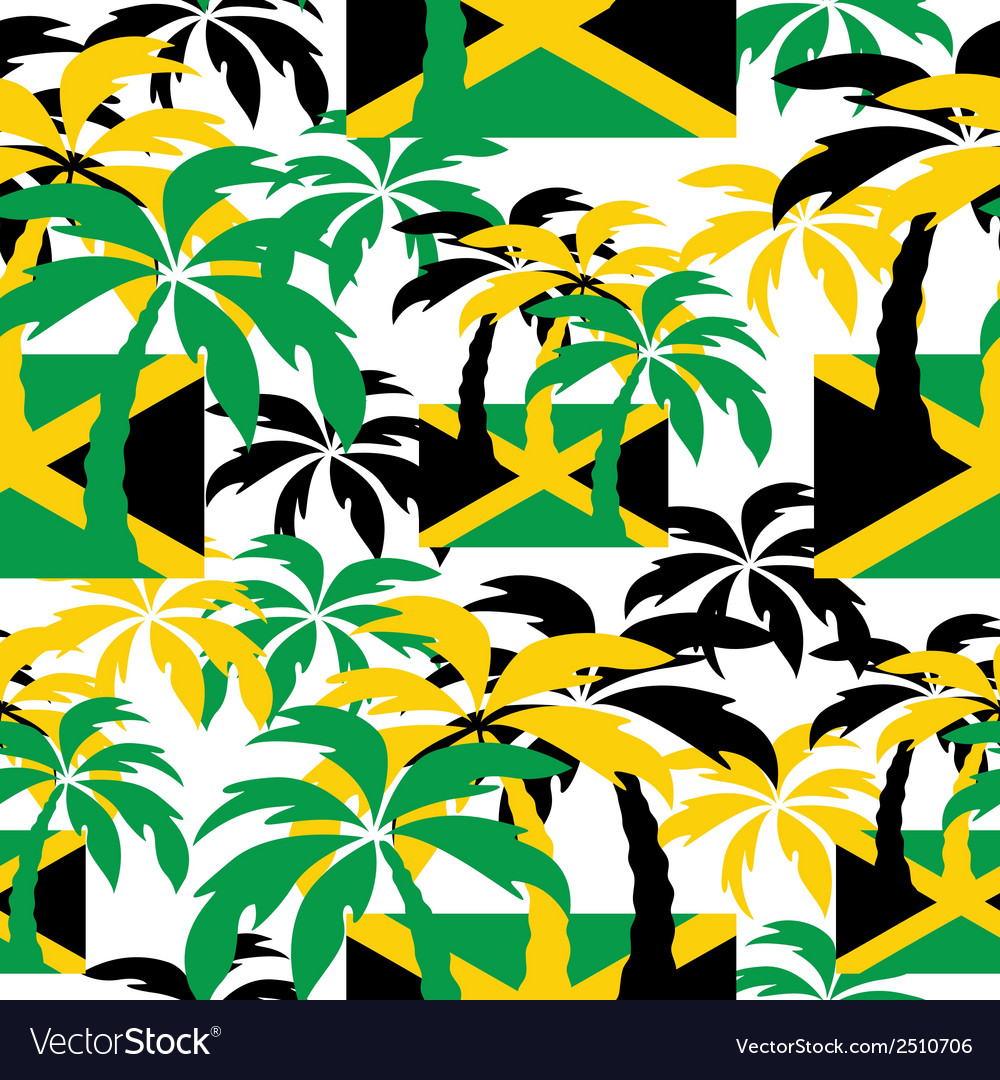 Palm trees in jamaica colors seamless background vector | Price: 1 Credit (USD $1)