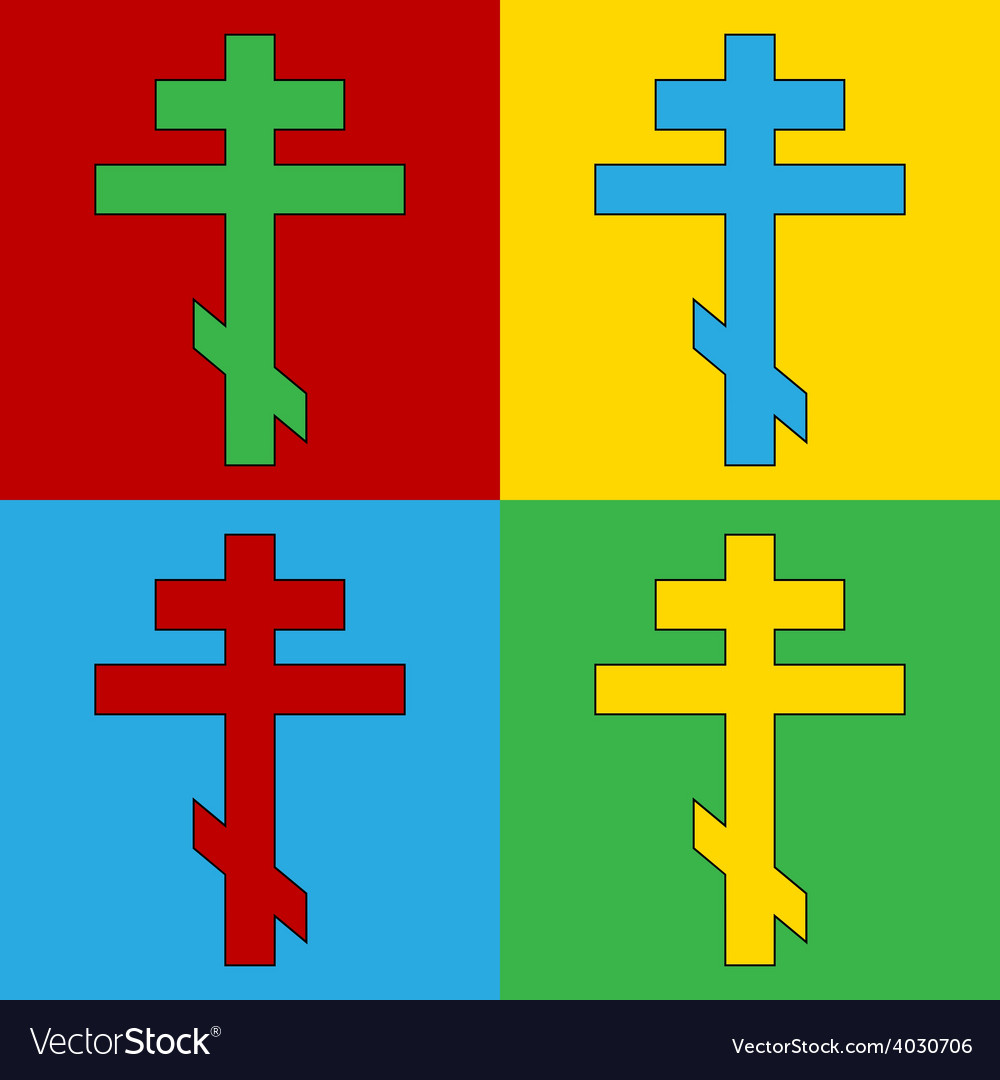 Pop art religious orthodox cross icons vector | Price: 1 Credit (USD $1)