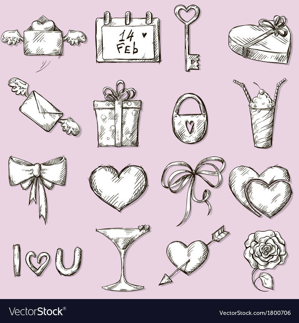 Valentines day icons design elements vector | Price: 1 Credit (USD $1)