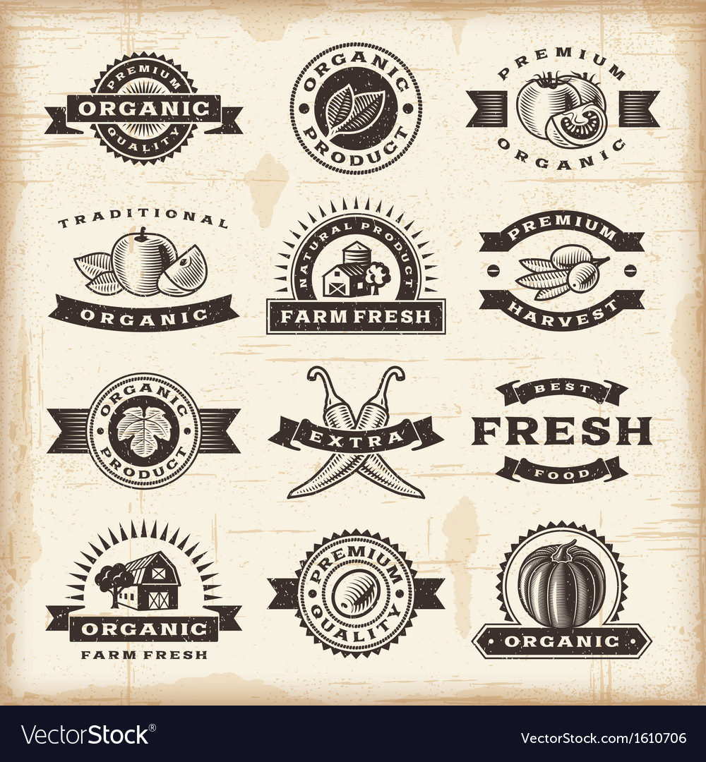Vintage organic harvest stamps set vector | Price: 1 Credit (USD $1)