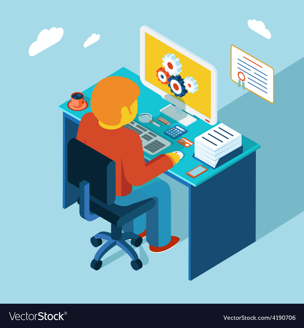 Workplace working at computer flat 3d isometric vector | Price: 1 Credit (USD $1)