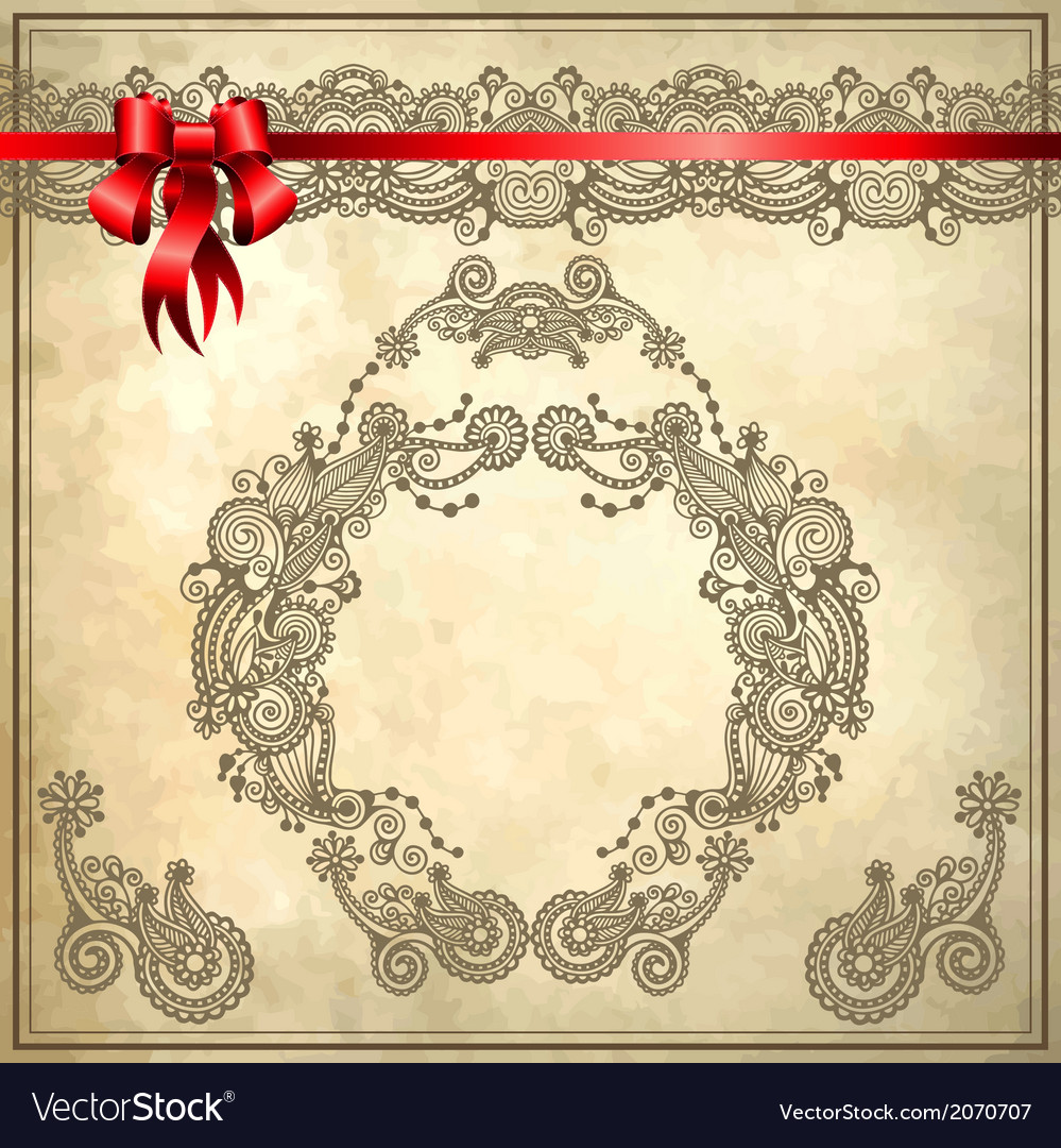Background with red ribbon and floral ornament vector | Price: 1 Credit (USD $1)