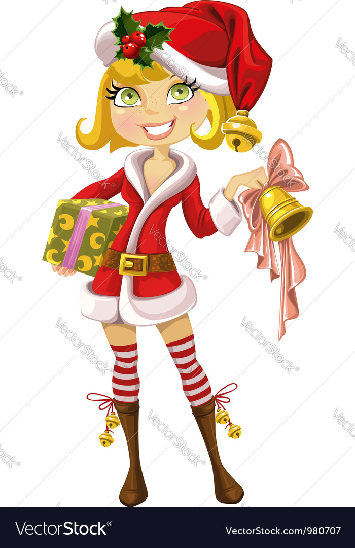 Cute blond girl in red santa suit with bell vector | Price: 3 Credit (USD $3)