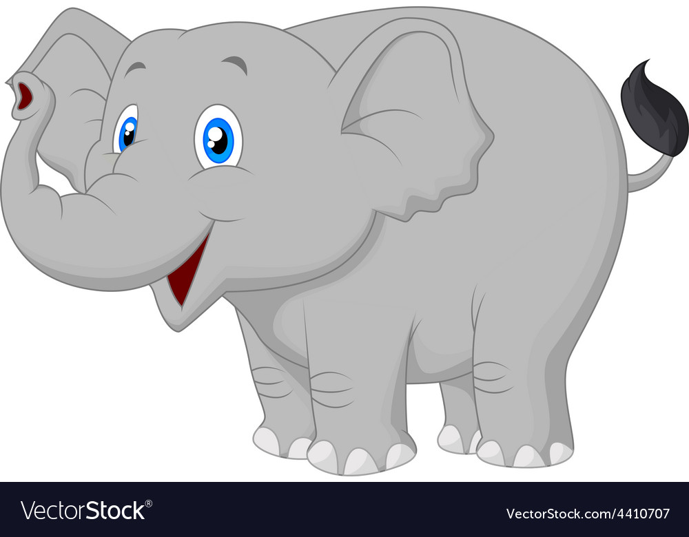 Cute cartoon elephant posing vector | Price: 1 Credit (USD $1)