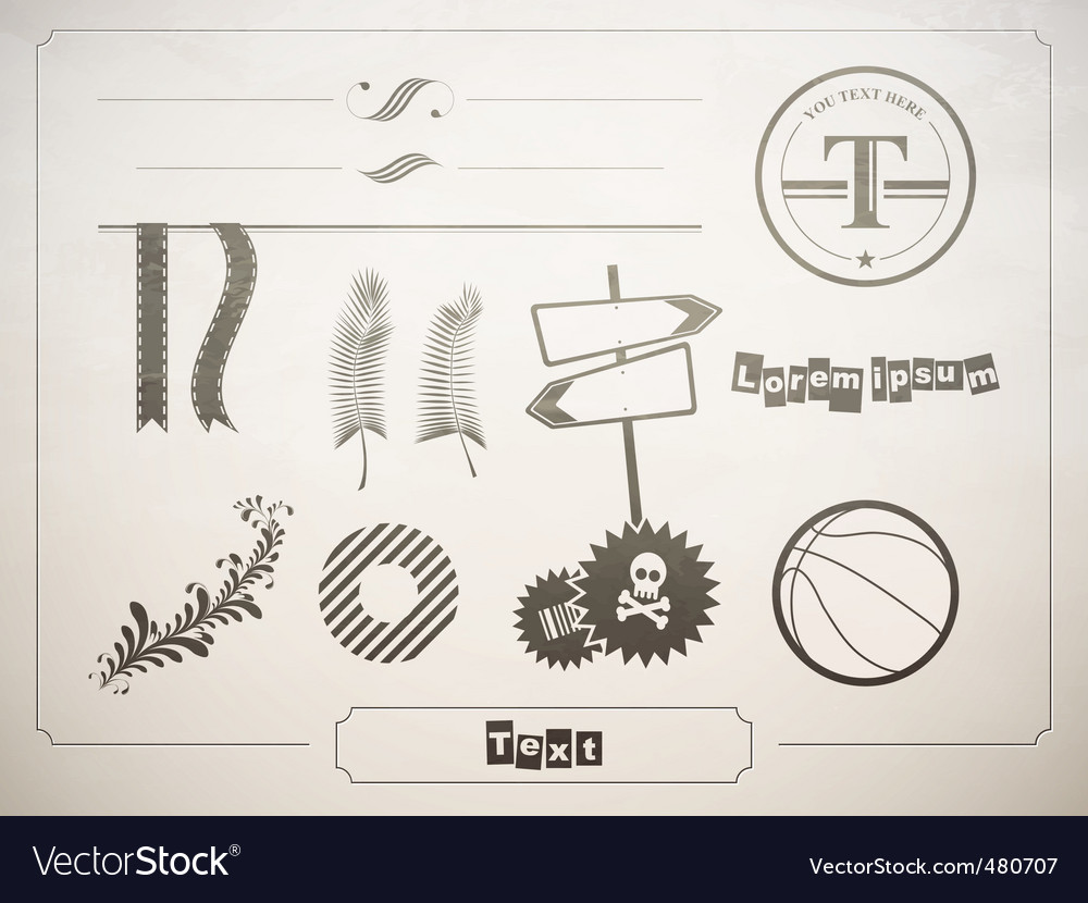 Diverse set of design elements vector | Price: 1 Credit (USD $1)