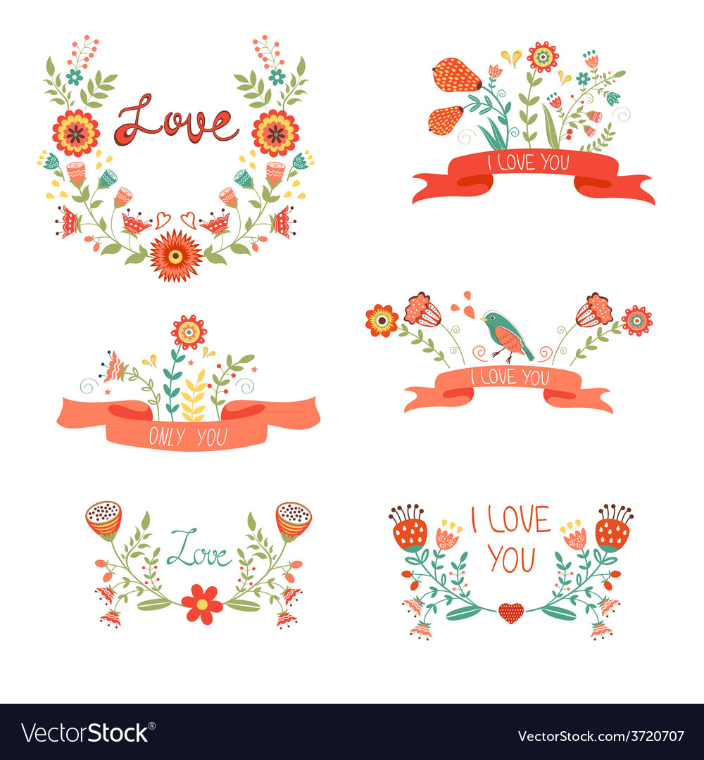 Elegant floral graphic elements vector | Price: 1 Credit (USD $1)