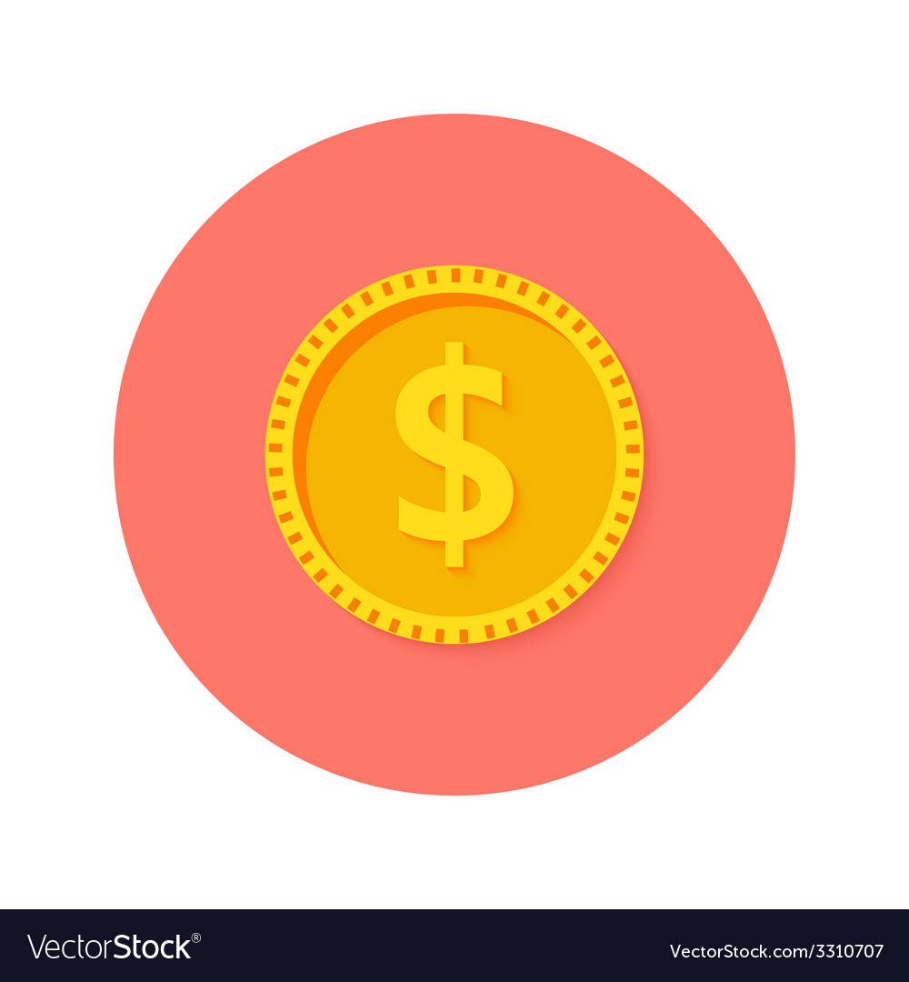 Gold dollar coin money circle flat icon vector | Price: 1 Credit (USD $1)