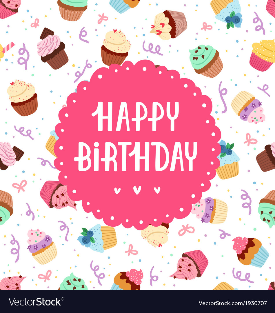 Happy birthday cupcakes vector | Price: 1 Credit (USD $1)