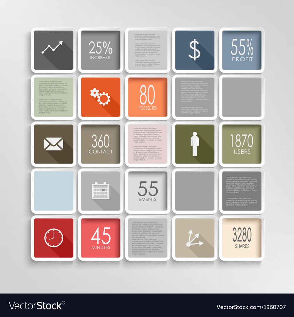 Modern squares colorful info graphic template vector   Price: 1 Credit (USD $1)